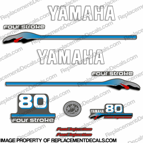 Yamaha 80hp 4 stroke fuel injection decals 1999 2000 for Yamaha replacement decals