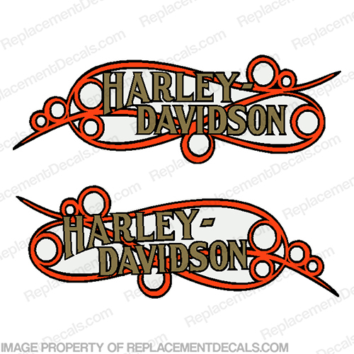 Harley-Davidson Fuel Tank Motorcycle Decals (Set of 2) - Scroll harley, harley davidson, harleydavidson, scroll