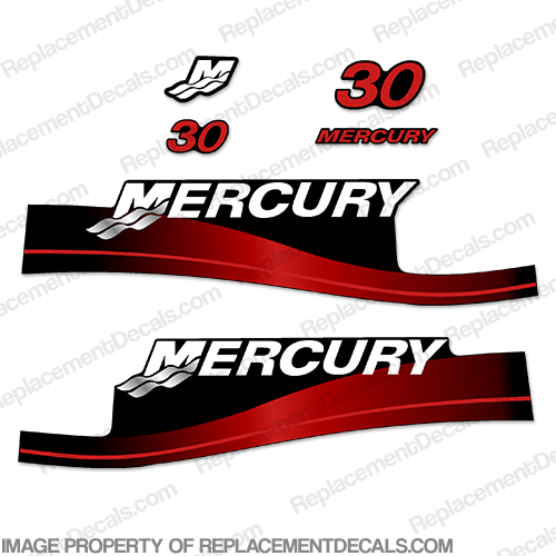 Mercury 30hp Decal Kit 2-Stroke 1999-2004 (Red)
