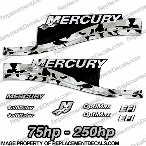 Mercury 75hp - 250hp Decals - Gray Camo