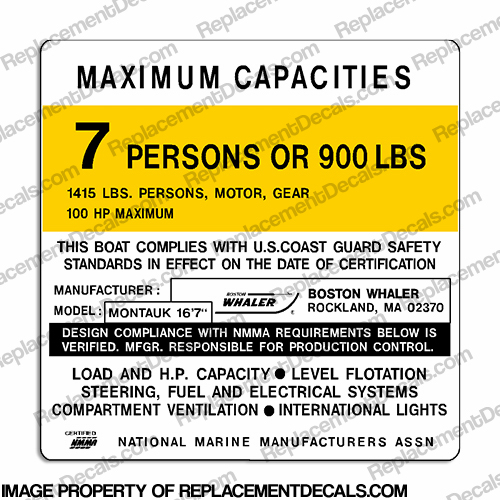 Boston Whaler Montauk Capacity Plate Decal - 7 Person