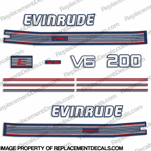 Evinrude 1990 200hp V6 Decal Kit