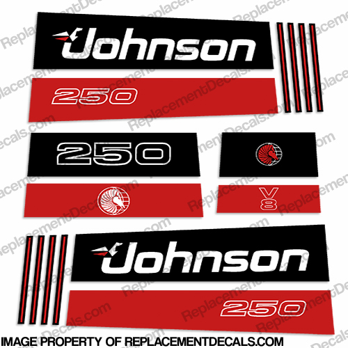 Johnson 250hp V8 Sea Horse Decals - Early 1990s 250, sea, horse, seahorse, 1990, 1991, 1992,1 993, 1994, 1995, 19996, 1997,  hp, outboard motor, tiller, engine, v8 decal, sticker, kit, set