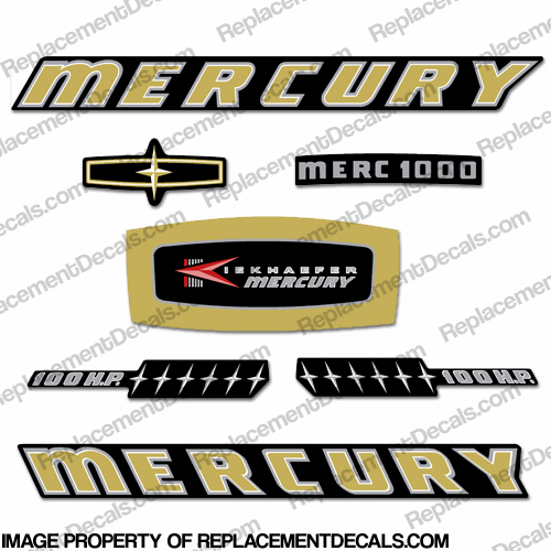 Mercury 1965 100HP Outboard Engine Decals