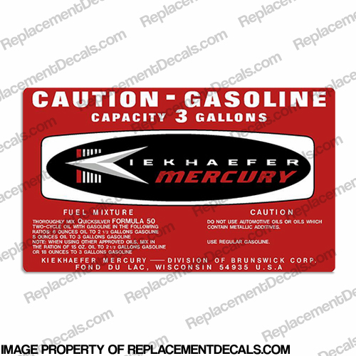 Mercury 1964 3 Gallon Gas Tank Decal