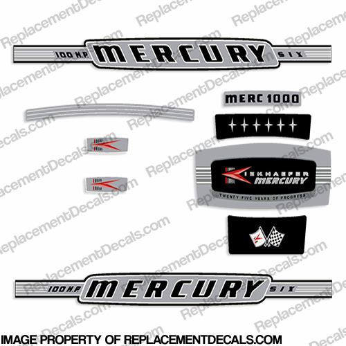 Mercury 1964 100HP Outboard Engine Decals