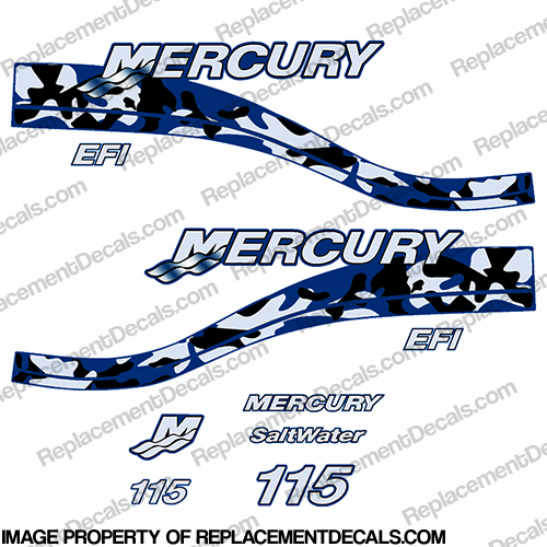 Mercury 115hp EFI Decal Kit - Custom Blue Camo Design