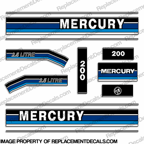 1991-1993 Mercury 200hp Decals - Custom Blue