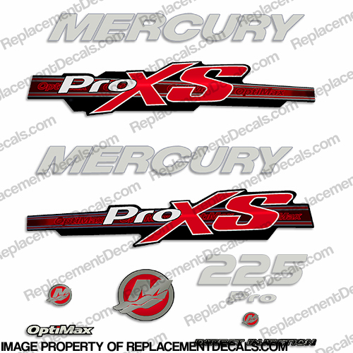Mercury 225hp ProXS 2013+ Style Decals - Red/Silver pro xs, optimax proxs, optimax pro xs, optimax pro-xs, pro-xs, 225 hp