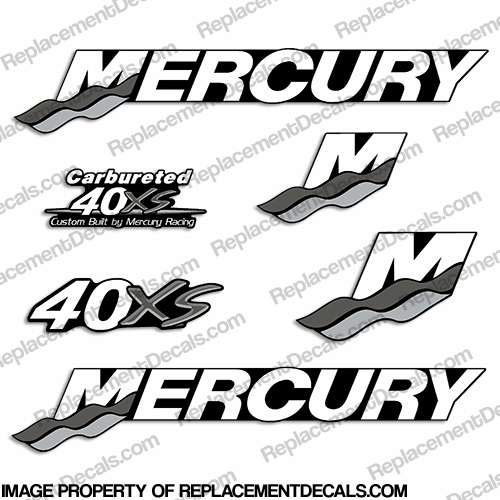 Mercury Custom 40hp Racing 40xs Decals - Gray/Silver