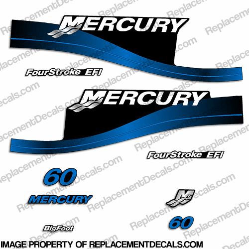 Mercury 60hp FourStroke EFI Decals Blue 1999