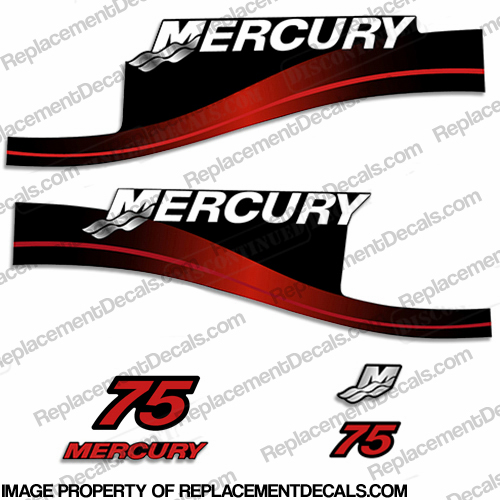Mercury 75hp Two Stroke Decal Kit (Red)