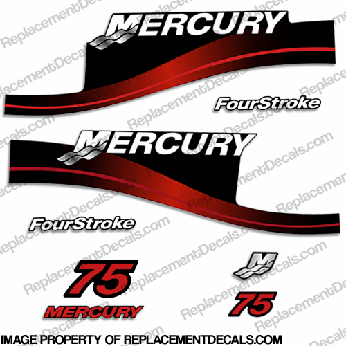 Mercury 75hp Four Stroke Decal Kit (Red)