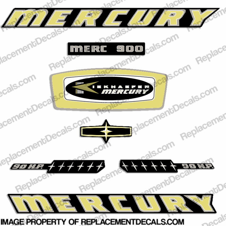 Mercury 1965 90HP Outboard Engine Decals