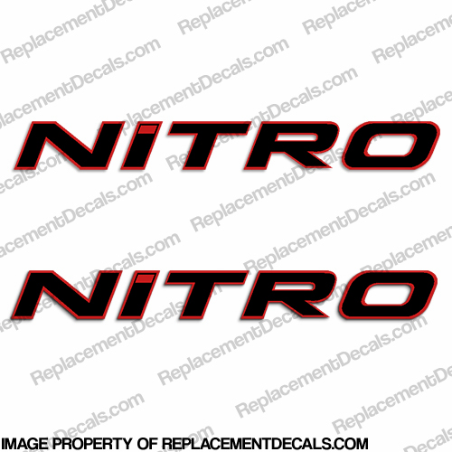 Tracker Marine Nitro Boat Decals  - Black w/Red Outline