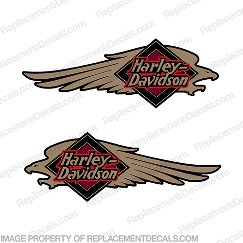 Harley-Davidson FXSTC Softail Decals Gold / Black (Set of 2) - Fuel Tank Decal  Harley-Davidson, fxstc, Decals,  black, (Set of 2), 14471, Harley, Davidson, Harley Davidson, soft, tail, 1995, 1996, 96, softtail, soft-tail, softail, harley-davidson, Fuel, Tank, Decal