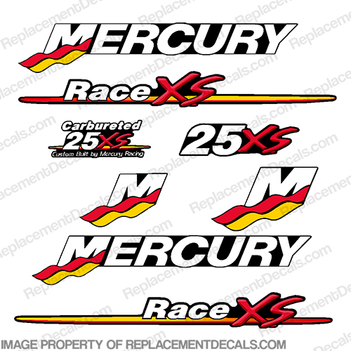 Mercury Custom 25hp Racing 25xs Decals Mercury, 25, 25 hp, 25 xs, xs, Racing, Race