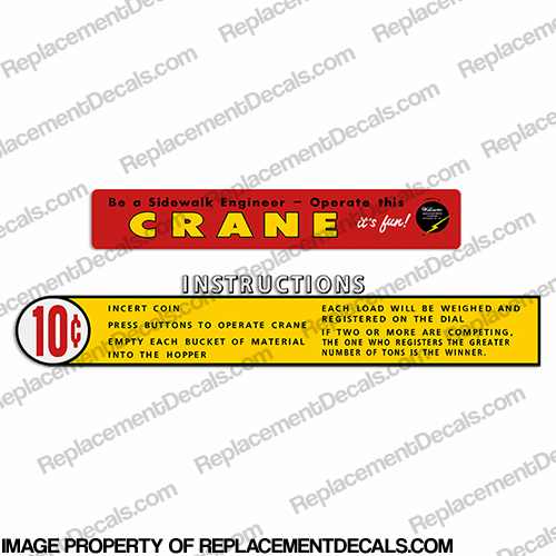 Williams Crane Arcade Game Decals