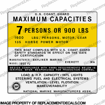 Bayliner Marine 1802 FJ Capacity Decal - 7 Person