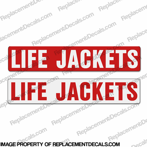 Boat Label Decals - Life Jackets (Set of 2) - Red or White Background