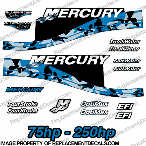 Mercury 75hp - 250hp Decals - Blue Camo