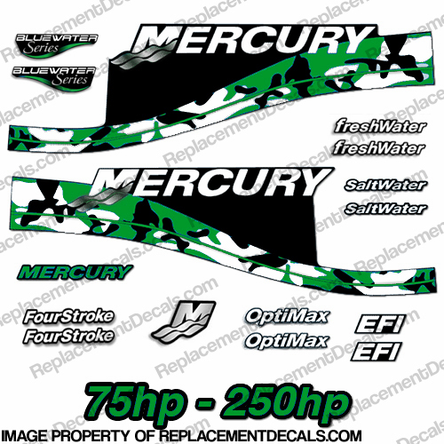 Mercury 75hp - 250hp Decals - Green Camo