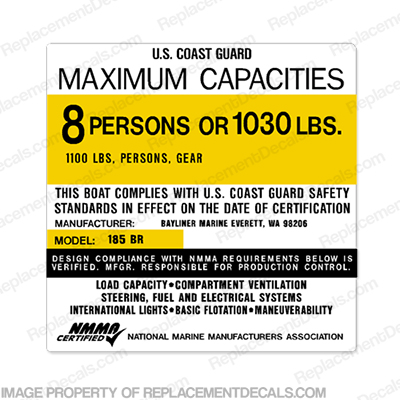 Bayliner 185 BR Capacity Decal - 8 Person