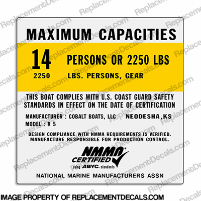 Cobalt R5 Capacity Decal - 14 Person