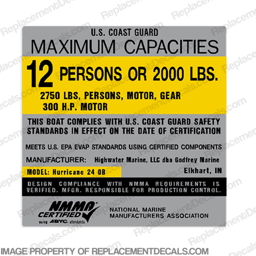 Hurricane 24 OB 12 Person Boat Capacity Plate Decal