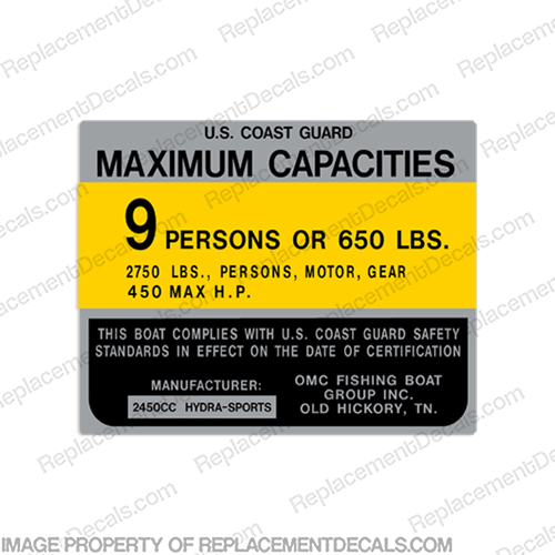 Hydra-Sports 2450cc 9 Person Boat Capacity Plate Decal  hp, outboard, boat, motor, tiller, capacity, decal, sticker, kit, set, rating, coast, guard, nmma, safety,
