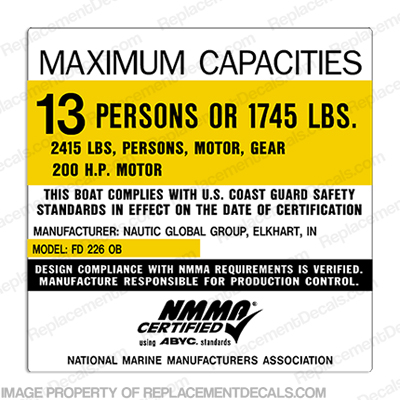 Nautic Global Group FD 226/226F OB Capacity Plate Decal - 13 Person