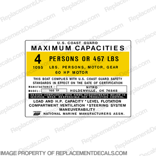 Nitro 160 TF Capacity Decal - 4 Person capacity, plate, sticker, decal, 160TF