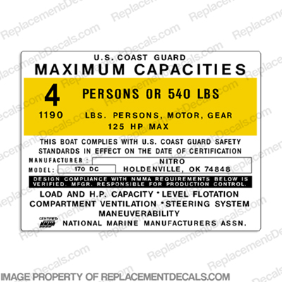 Nitro 170 DC Capacity Decal - 4 Person capacity, plate, sticker, decal, 170dc