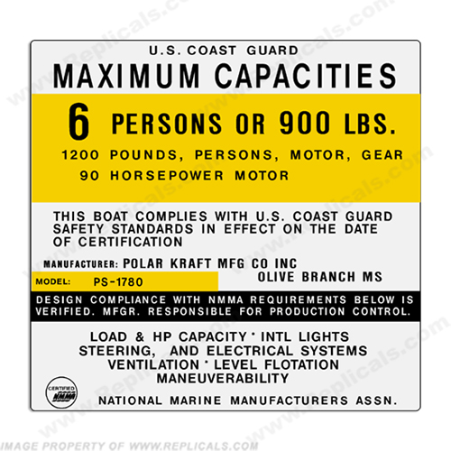 Polar Kraft PS-1780 6 Person Boat Capacity Plate Decal
