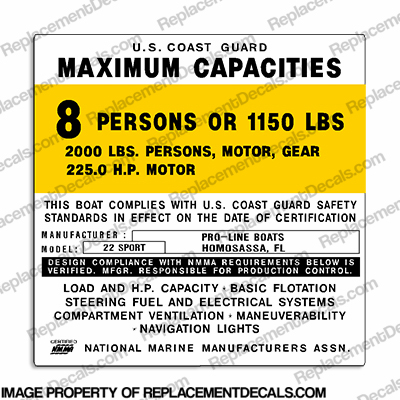 Pro-Line 22 Sport Capacity Decal - 8 Person