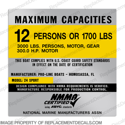 Pro-Line 24 Sport Capacity Decal - 12 Person