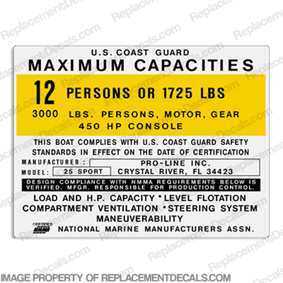 Pro-Line 25 Sport Capacity Decal - 12 Person