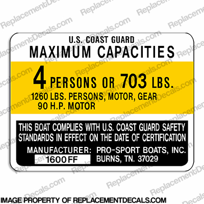 Pro-Sport 1600FF Capacity Decal - 4 Person prosport, prosports