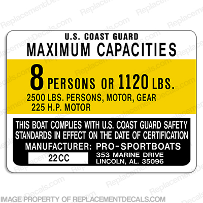 Pro-Sport 22C Capacity Decal - 8 Person prosport, prosports