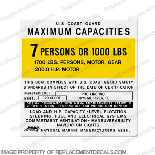 Proline 20 Sport Boat Capacity Decal - 7 person