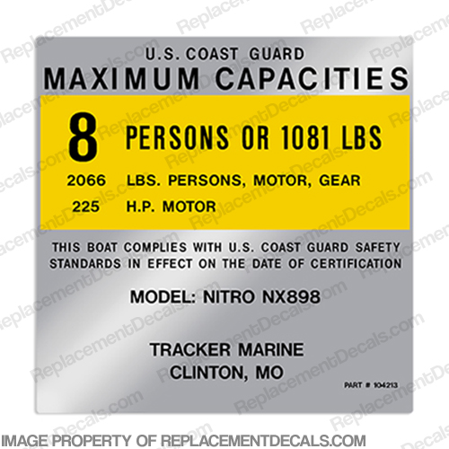 Tracker Marine Nitro 898 8 Person Boat Capacity Plate Decal
