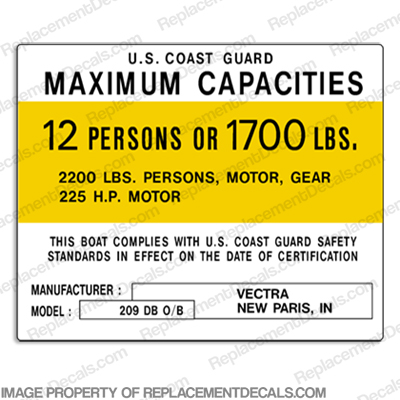 Vectra 209 DB Capacity Decal - 12 Person