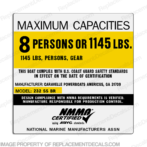 Caravelle 232 SS BR 8 Person Boat Capacity Plate Decal