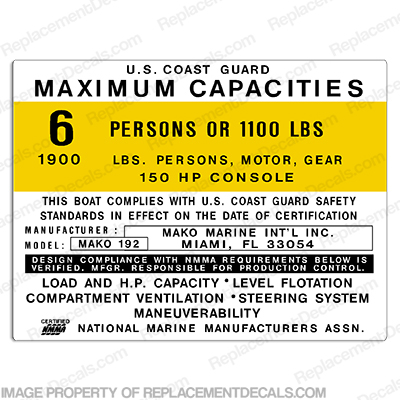 Mako 192 Capacity Plate Decal - 6 Person