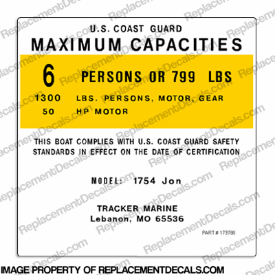 Tracker Marine 1754 Jon Capacity Decal - 6 Person