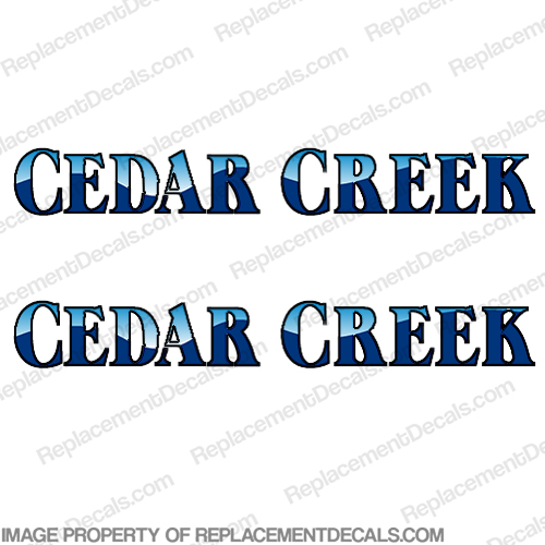 Cedar Creek RV Decals (Set of 2) - Burgundy/Tan - RV-CC-BT