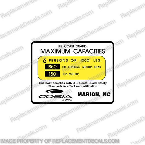 Cobia Boat Capacity Decal - 6 Person  cobia, 6, six, person, boat, logo, decal, capacity, plate, sticker, decal, regulation, coast, guard, warning, fuel, gas, diesel, safety