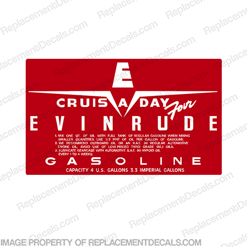 Evinrude 1958 4 Gallon Fuel Tank Decal STYLE 2