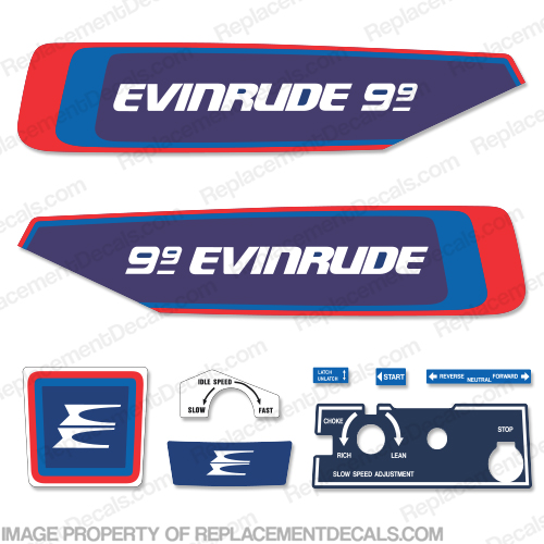 Evinrude 9.9hp 1976 Decal Kit 9.9, evinrude 9.9, 76