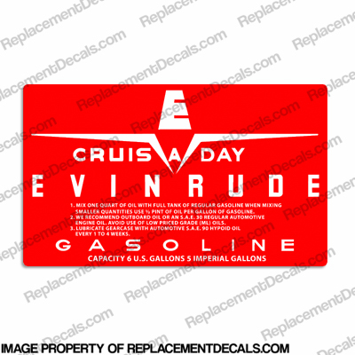 Evinrude 1958 6 Gallon Fuel Tank Decal